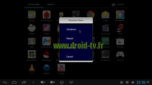 Shutdown Menu choix Shutdown Droid-TV.fr