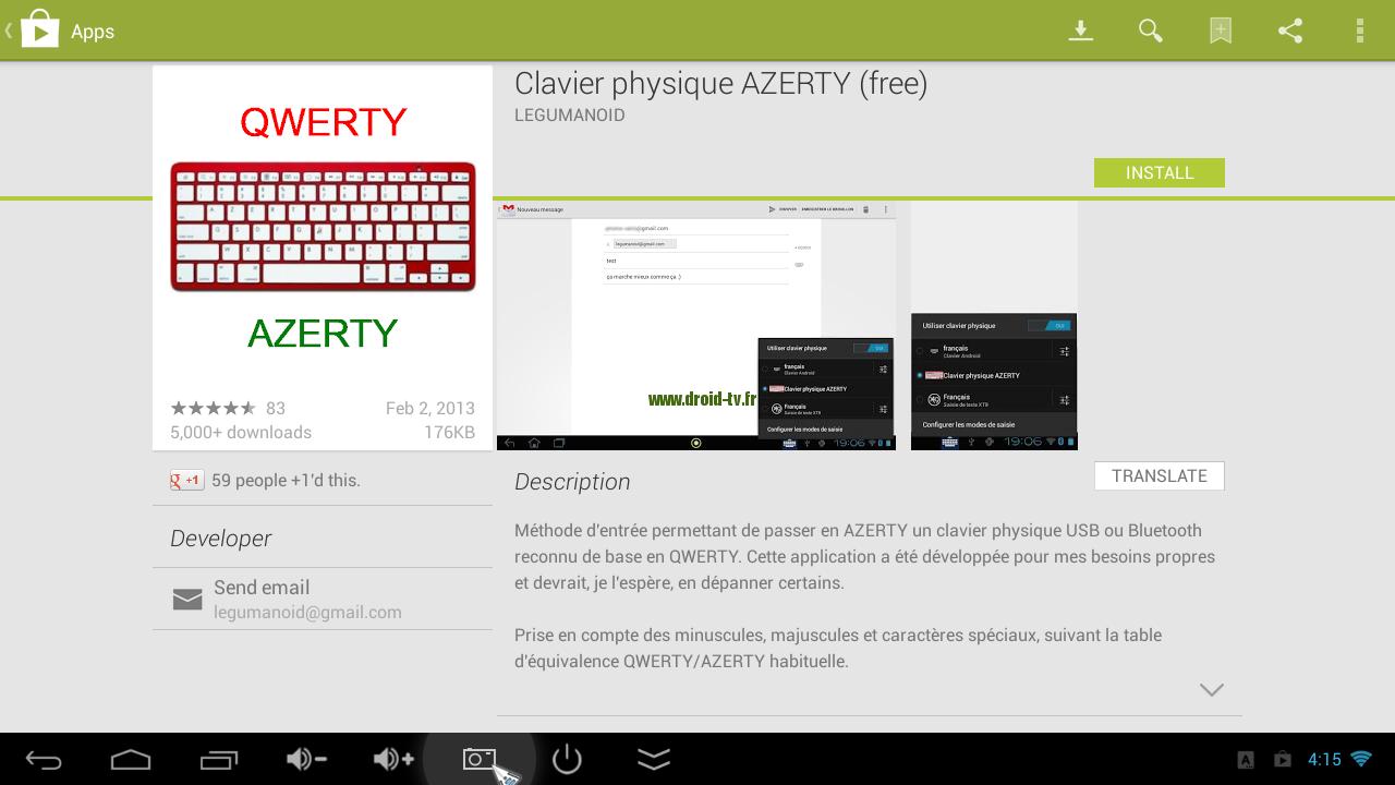 Clavier physique AZERTY