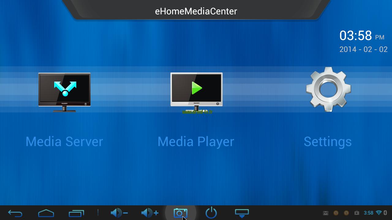 eHomeMediaCenter écran principal