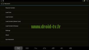 Ecran principal RetroArch box Android M8 Droid-TV.fr