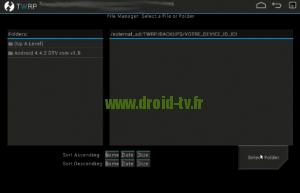 Choix Select Folder recovery alternatif Droid-TV.fr