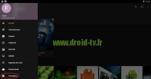 Acces aux parametres sur Plex pour Android par Droid-TV.fr